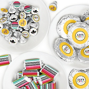 Let's Fiesta - Mini Candy Bar Wrappers, Round Candy Stickers and Circle Stickers - Mexican Fiesta Candy Favor Sticker Kit - 304 Pieces