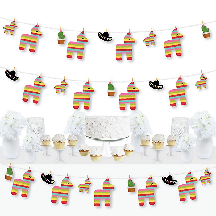Let's Fiesta - Mexican Fiesta DIY Party Decorations - Clothespin Garland Banner - 44 Pieces