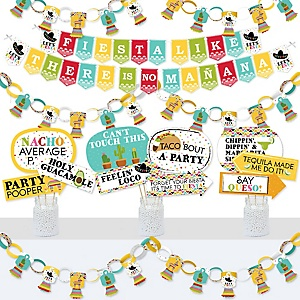 Let's Fiesta - Banner and Photo Booth Decorations - Mexican Fiesta Supplies Kit - Doterrific Bundle