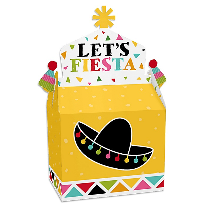 Let's Fiesta - Treat Box Party Favors - Mexican Fiesta Goodie Gable Boxes - Set of 12