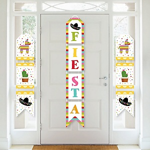 Let's Fiesta - Hanging Vertical Paper Door Banners - Mexican Fiesta Wall Decoration Kit - Indoor Door Decor