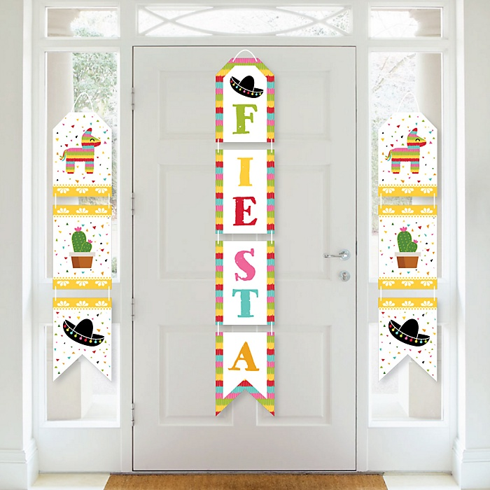 Let's Fiesta - Hanging Vertical Paper Door Banners - Mexican Fiesta Wall Decoration Kit - Indoor Door Decor