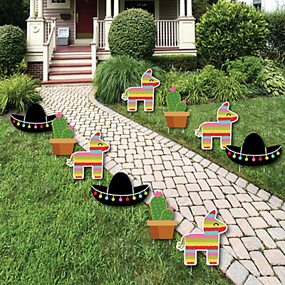 Let S Fiesta Pinata Cactus And Sombrero Lawn Decorations Outdoor Mexican Party Yard 10 Piece Dotofhiness