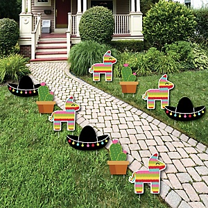 Let's Fiesta - Pinata, Cactus and Sombrero Lawn Decorations - Outdoor Mexican Fiesta Party Yard Decorations - 10 Piece