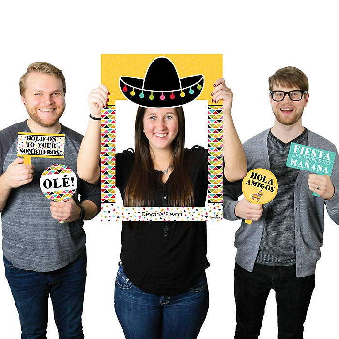 Let's Fiesta - Personalized Mexican Fiesta Selfie Photo Booth Picture Frame & Props - Printed on Sturdy Material