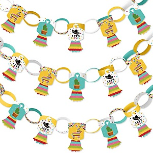 Let's Fiesta - 90 Chain Links and 30 Paper Tassels Decoration Kit - Mexican Fiesta Paper Chains Garland - 21 feet