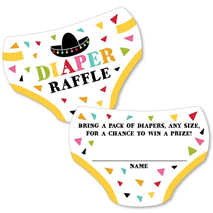 Let's Fiesta - Diaper Shaped Raffle Ticket Inserts - Mexican Fiesta Baby Shower Activities - Diaper Raffle Game - Set of 24