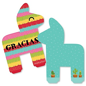 Let's Fiesta - Shaped Thank You Cards - Mexican Fiesta Thank You Note Cards with Envelopes - Set of 12