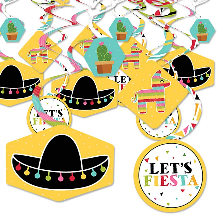 Let's Fiesta - Mexican Fiesta Hanging Decor - Party Decoration Swirls - Set of 40