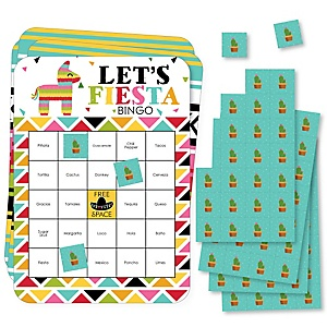 Let's Fiesta - Bar Bingo Cards and Markers - Mexican Fiesta Bingo Game - Set of 18