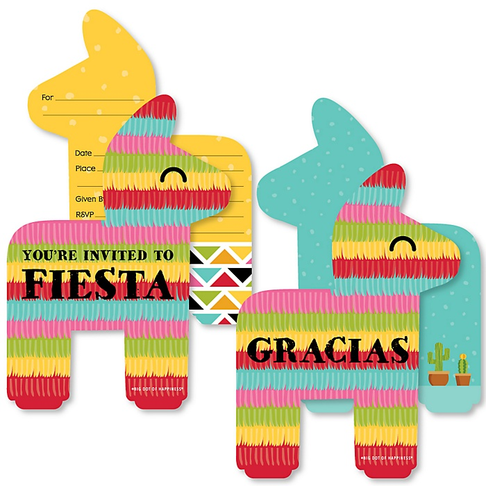 Let's Fiesta - 20 Shaped Fill-In Invitations and 20 Shaped Thank You Cards Kit - Mexican Fiesta Stationery Kit - 40 Pack