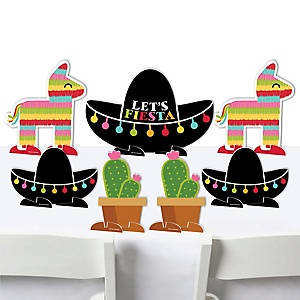 Let's Fiesta - Mexican Fiesta Centerpiece Table Decorations - Tabletop Standups - 7 Pieces