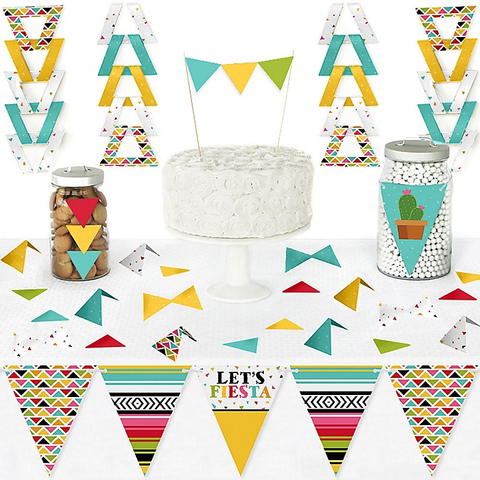 Let's Fiesta - DIY Pennant Banner Decorations - Mexican Fiesta Triangle Kit - 99 Pieces