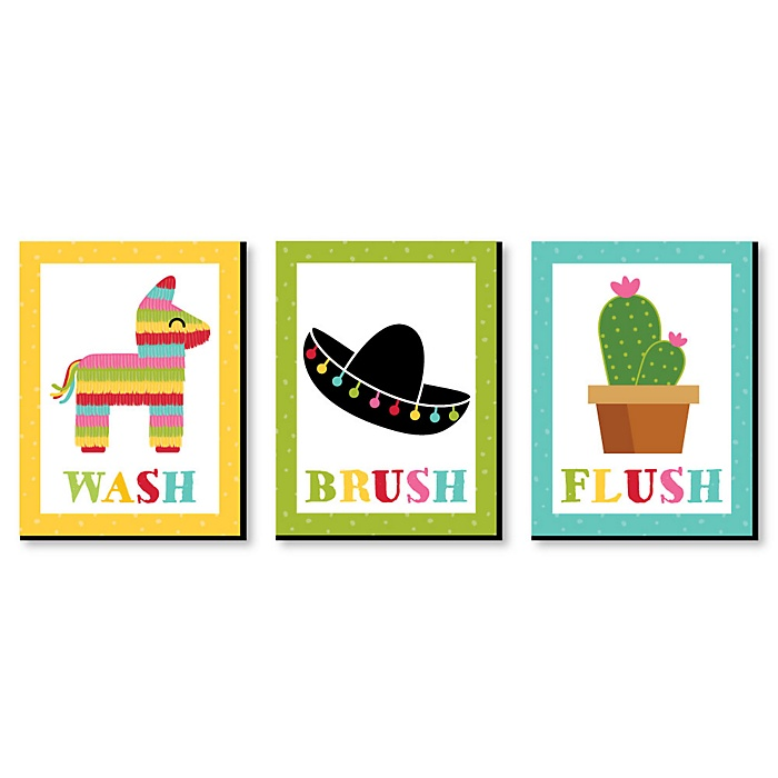Let's Fiesta - Kids Bathroom Rules Wall Art - 7.5 x 10 inches - Set of 3 Signs - Wash, Brush, Flush