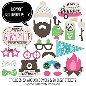 Let's Go Glamping - 20 Piece Glamping Photo Booth Props Kit