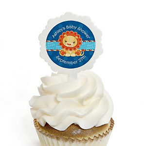 Lion Boy - 12 Cupcake Picks & 24 Personalized Stickers - Baby Shower Cupcake Toppers