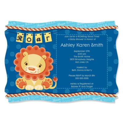 Lion Boy Personalized Baby Shower Invitations BigDotOfHappinesscom