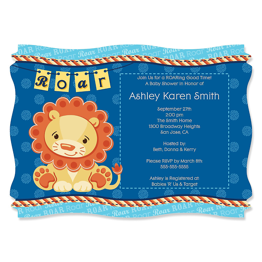 Lion Boy - Personalized Baby Shower Invitations | BigDotOfHappiness.com