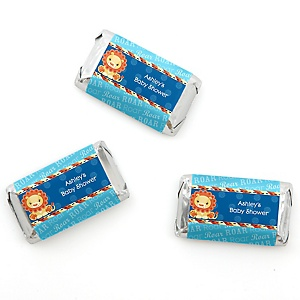 Lion Boy - Personalized Baby Shower Mini Candy Bar Wrapper Favors - 20 ct