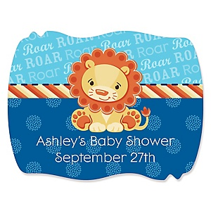 Lion Boy - Personalized Baby Shower Squiggle Stickers - 16 ct