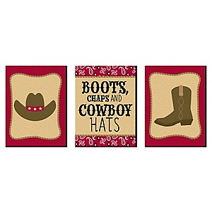 "Little Cowboy - Western Nursery Wall Art and Kids Room Décor - 7.5"" x 10"" - Set of 3 Prints"