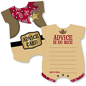 Little Cowboy - Baby Bodysuit Wish Card Western Baby Shower Activities - Shaped Advice Cards Game - Set of 20