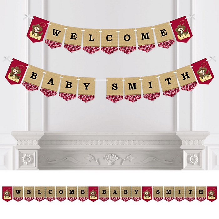 Little Cowboy - Western Personalized Party Bunting Banner & Decorations