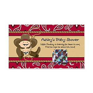 Little Cowboy - Western Personalized Baby Shower Game Scratch Off Cards - 22 ct