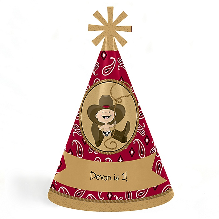 Little Cowboy - Personalized Western Cone Happy Birthday Party Hats for Kids and Adults - Set of 8 (Standard Size)