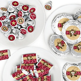 Little Cowboy - Mini Candy Bar Wrappers, Round Candy Stickers and Circle Stickers - Western Baby Shower or Birthday Party Candy Favor Sticker Kit - 304 Pieces