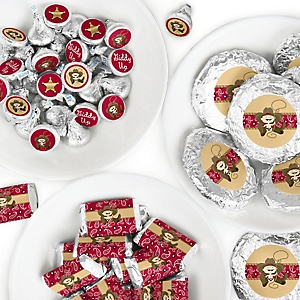 Little Cowboy - Mini Candy Bar Wrappers, Round Candy Stickers and Circle Stickers - Western Baby Shower or Birthday Party Candy Sticker Favor Kit - 304 Pieces