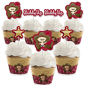 Little Cowboy - Cupcake Decorations - Western Baby Shower or Birthday Party Cupcake Wrappers and Treat Picks Kit - Set of 24