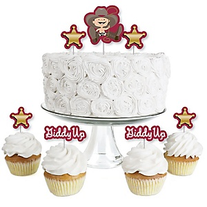 Little Cowboy - Dessert Cupcake Toppers - Western Baby Shower or Birthday Party Clear Treat Picks - Set of 24