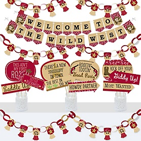 Little Cowboy - Banner and Photo Booth Decorations - Western Baby Shower or Birthday Party Supplies Kit - Doterrific Bundle