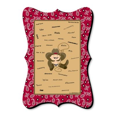 Little Cowboy   Unique Alternative Guest Book   Western Baby Shower Or  Birthday Party Signature Mat