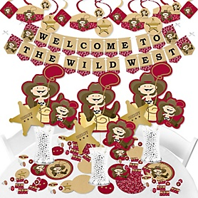 Little Cowboy - Western Baby Shower or Birthday Party Supplies - Banner Decoration Kit - Fundle Bundle