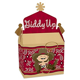 Little Cowboy - Treat Box Party Favors - Western Baby Shower or Birthday Party Goodie Gable Boxes - Set of 12
