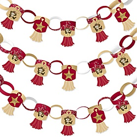 Little Cowboy - 90 Chain Links and 30 Paper Tassels Decoration Kit - Western Baby Shower or Birthday Party Paper Chains Garland - 21 feet