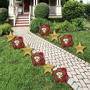 Little Cowboy - Western Lawn Decorations - Outdoor Baby Shower or Birthday Party Yard Decorations - 10 Piece