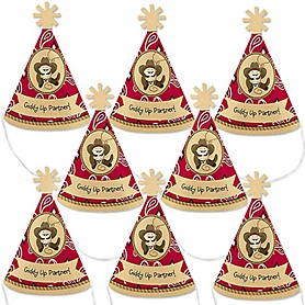 Little Cowboy - Personalized Western Mini Cone Baby Shower or Birthday Party Hats - Small Little Party Hats - Set of 8