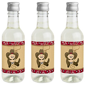Little Cowboy - Mini Wine and Champagne Bottle Label Stickers - Western Baby Shower or Birthday Party Favor Gift for Women and Men - Set of 16