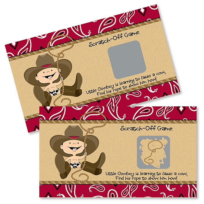 Little Cowboy - Western Baby Shower Game Scratch Off Cards - 22 ct