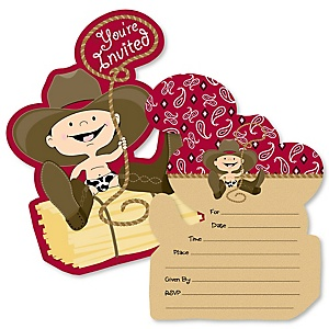 Little Cowboy - Shaped Fill-In Invitations - Western Baby Shower or Birthday Party Invitation Cards with Envelopes - Set of 12