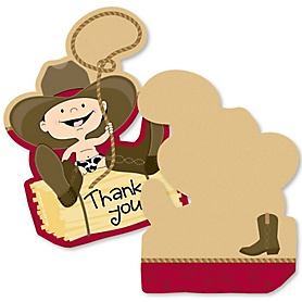 Little Cowboy - Shaped Thank You Cards - Western Baby Shower or Birthday Party Thank You Note Cards with Envelopes - Set of 12