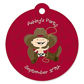 Little Cowboy - Western Round Personalized Party Tags - 20 ct