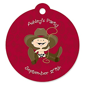 Little Cowboy - Western Personalized Baby Shower Round Tags - 20 Count