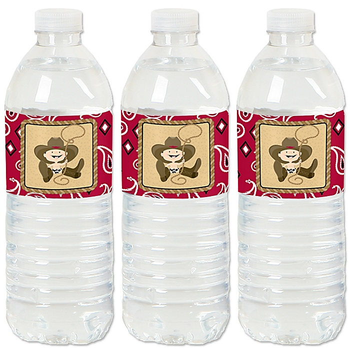Little Cowboy - Western Baby Shower or Birthday Party Water Bottle Sticker Labels - Set of 20