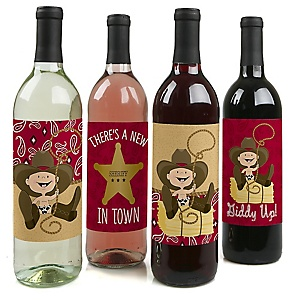 Little Cowboy - Western Baby Shower or Birthday Party Decorations for Women and Men - Wine Bottle Label Stickers - Set of 4