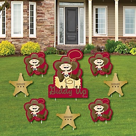 Little Cowboy - Yard Sign & Outdoor Lawn Decorations - Western Baby Shower or Birthday Party Yard Signs - Set of 8