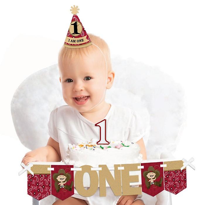 Little Cowboy 1st Birthday - First Birthday Boy Smash Cake Decorating Kit - High Chair Decorations